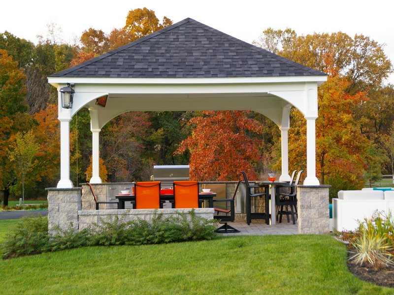 awesome outdoor pavilion plans at the backyard with outdoor kitchen design  plus dining seat and green - Outdoor Pavilion Plans That Offer A Pleasant Relaxing Time At Your