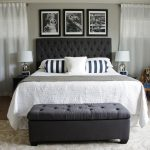 awesome tufted headboards at ikea in king size divan bed and nightstands with table lamps and rug and white curtains and brown rug