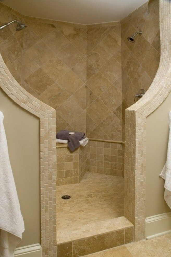 Awesome Walk In Showers No Doors For Modern Bathroom Ideas With Tile Wall And Flooring