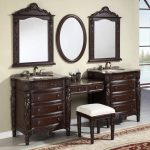 Bathroom Carved Dark Brown Polished Wooden Vanity With Sink And Faucet Also Square Stool On Ceramics Flooring Plus Three Mirror With Brown Wooden Frame On Grey Wall Cool Ideas Of Small