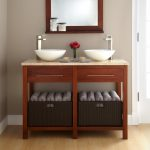 bathroom-double-white-bowl-sink-on-brown-wooden-vanity-having-white-top-on-laminate-flooring-plus-mirror-with-brown-wooden-frame-on-beige-wall-cool-ideas-of-small-double-sink-vanity-