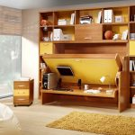 Beautifl Yellow Fold Up Wall Bed Design With Full Storage Idea With Laminated Flooring Idea And Small Armoire And Narrow Yellow  Rug And White Puff And Large Glass Window