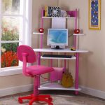 beautiful pink student corner desk design with simple white pink accent and computer set with wall palette and pink swivel chair aside glass window design