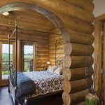 bedroom design in a log home metal bed furniture a ceiling fan curved style door