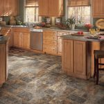 best floors for kitchens ideas with wooden kitchen cabinets plus kitchen island with wooden rattan chairs and window with blinds