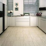 best floors for kitchens with impressive tile flooring combined with white kitchen cabinets and steel countertop plus windows with blinds