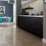 best floors for kitchens with stunning tiles plus wooden kitchen cabinets and blue pendant lighting and dining room with blue chairs and white table