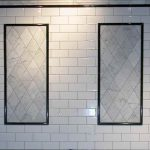 beveled subway tile sizes with retro style completed with double frame decorated on wall