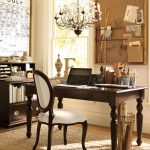 black stained wood desk in classic style an office chair a cabinet and shelf for storing files and documents a classic crystal pendant chandelier brown wool carpet