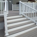 Brown And White Porch Design With White Fence Idea With Staircase And White Lattice Porch Skirting Upon Wooden Deck Floor