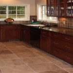 brown flooring options for kitchens with tiles and wooden kitchen cabinets and sink with modern faucet and tile backsplash