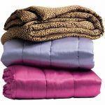 comforters in different colors purple light purple and motif looks like animal skin