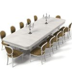 contemporary dining table design in white tone with round ended style and unique evening hue bolstered chairs with round backrest and candle stick