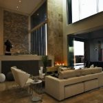 contemporary home interior design a set of furniture in brown colors light brown granite floors