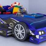 cool blue race car beds for toddlers with toys and storage underneath plus comfy bedding for kids bedroom ideas suitable for boy