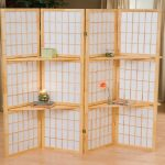 cool japanese folding room separators ikea with shelves for books and flower vase plus wooden laminate floor