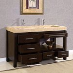 Creative Nice Cool Classic Double Sink Vanity With Nice Dark Wooden Concept And Has Single Photograph Design Rather Than A Mirror