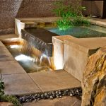 creative-nice-water-landscaping-great-water-feature-for-home-with-modern-concrete-design-concetp-with-small-pool-and-small-water-fall