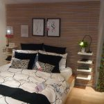 creative wooden headboards at ikea with storage and spot light and pictures plus black and white bedding set and wooden laminating floor