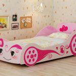 cute girly car beds for toddlers with sweet bedding set and lovely wallpaper together with frames on wall with candle holders