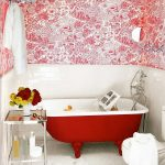 cute red colored bathtubs cute bathroom idea with steel racks with glass top and impresive bathroom wallpaper and white flooring for bathroom