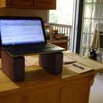 Diy Build Your Own Stand Up Desk With Solid Wooden Desk Combined Red Beam Of Wood Plus Laptop And Cell Phone For Home Office Ideas