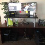 Diy Build Your Own Stand Up Deskwith Long Wooden Desk Combined With Black Coffee Table With Metal Legs Plus Monitors And Keyboard Plus Telephone And File Organizer