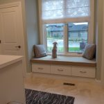 dog window perch with built in bench plus storage underneath and cushions