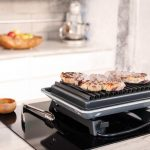 downtown electric hibachi grill for home bbq on kitchen countertop