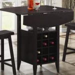 drop leaf dining table for small spaces in black finishing plus black wooden stool and hard floor plus wine storage underneath