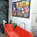 elegant colored bathtubs for small bathroom with stylish black pendant lamps and round end tables  plus artistic wall art on wall decoration