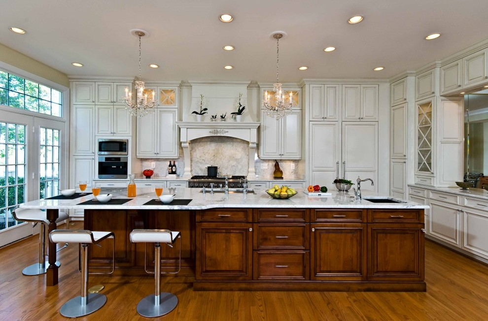 Merveilleux Elegant Kitchen Remodeling Northern Va With Brown And White Wooden Cabinets  Plus Island Stylish Chairs