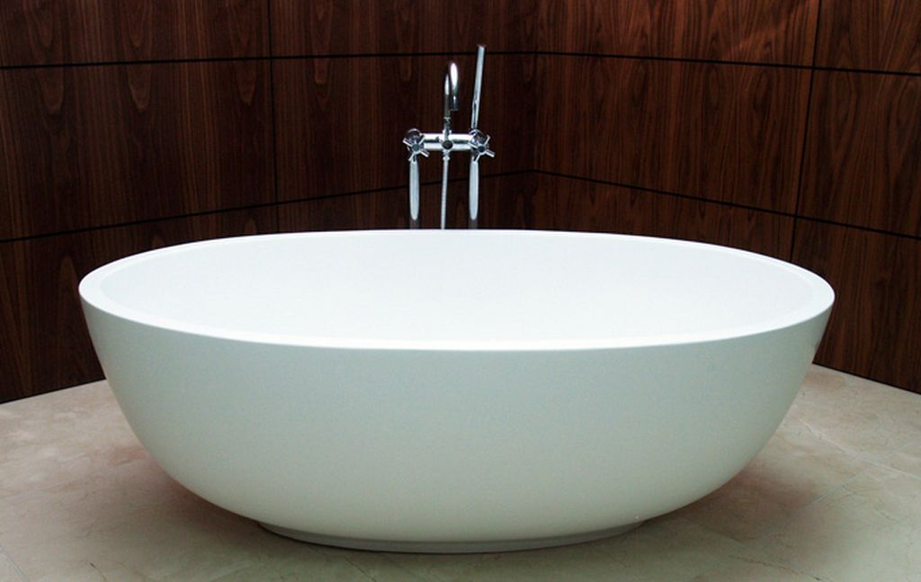 Efficient bathroom space saving with narrow bathtubs for for Narrow deep soaking tub