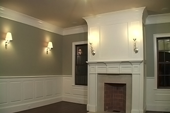 Evening Hue Wall Design With White Accent And Lantern Flat Crown Molding Idea