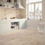 fancinating kitchen ideas with best floors for kitchens combined with white wooden kitchen cabinets plus wall mounted shelf for book and refrigerator