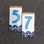 fancy art deco house numbers with blue and white color combination in rectangle shape decorated on wall