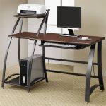 functional slim computer desk design with brown wooden countertop with standing printer desk with cream floor