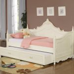 furniture-carved-white-wooden-daybeds-with-trundles-and-pink-blanket-and-pillow-also-white-bed-plus-floral-pattern-brown-rug-on-ceramics-flooring-beautiful-design-of-daybeds-with-trundles-show