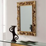 glamourous rectangle sheffield home mirrors with golden ornamented mirror plus glass top console table and beautiful art display for halway home ideas