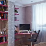 gorgeous black and pink student desk design in bedroom beneath glass window with white sheer curtain design aside wall pink racks with brick accent
