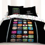 gorgeous black fun bed sheet idea with phone screen pattern on the quilt and pillows and colorful tone