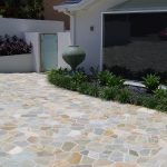 gorgeous outdoor flooring idea over concrete with broken stone application aside home garden with gate