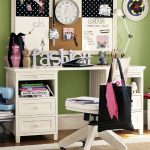 gorgeous white student desk design wiwth drawers with wall board design with white swivel chair beneath green wall