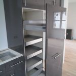 gray ikea pull out pantry in modern and stylish design and glossy surface for home furniture ideas and pull out door
