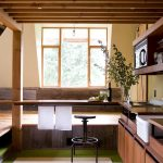 great transformation sheds turned into homes with cabinets and stool plus glass windows and wooden ceiling