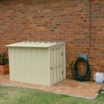 hidden pool pool equipment enclosures with brick wall house and brick paver pattern floor plus garden and plant pot
