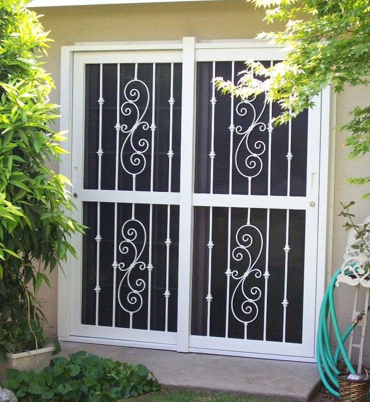 Hinged Screen Door With Two Paneletal Guard On The Surface