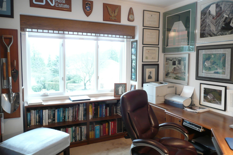 Home Office Ideas With Under Window Bookcase And Sectional Wooden Desk Plus Brown Leather Swivel Chair