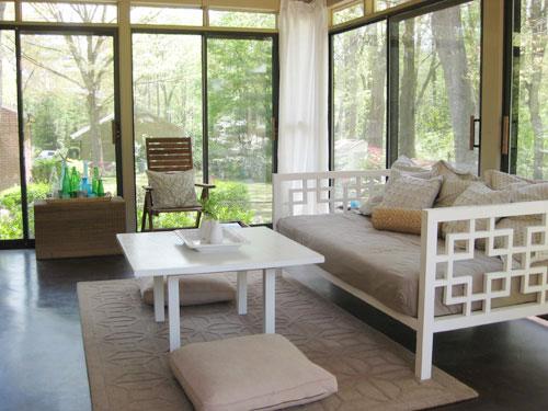White Rattan Bed Frame
