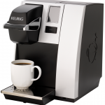 keurig white and black plumbed coffee maker machine with modern style for home kitchen